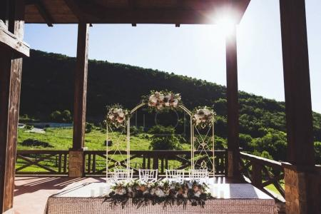 Beautiful decorated wedding reception