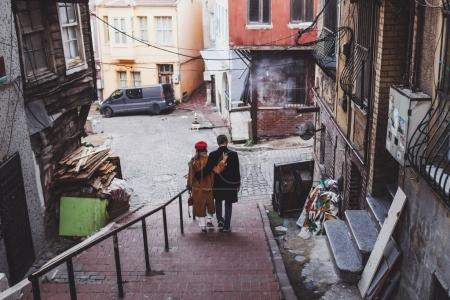Couple walking at old istanbul streets