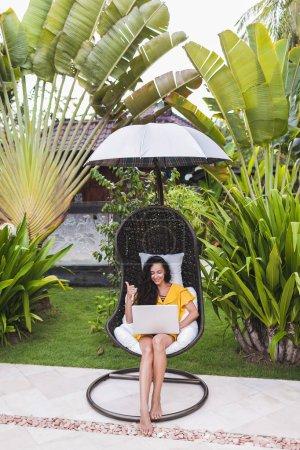 woman working  as freelancer online