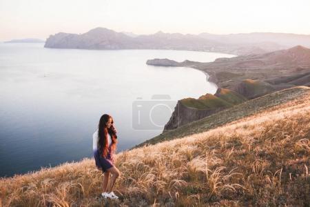 Young girl walking at nature