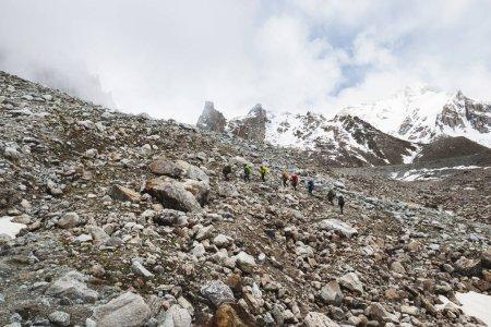 Group of tourists hike