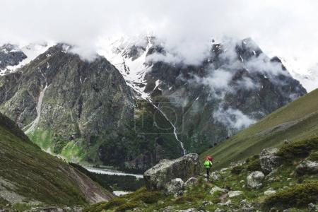 tourist hiking in Elbrus region