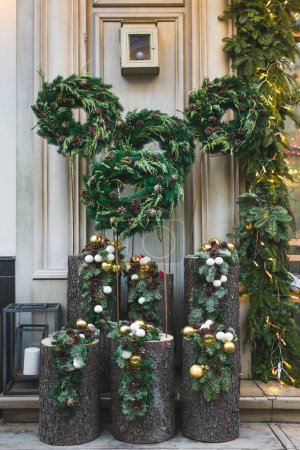 Christmas wreaths with fir branches