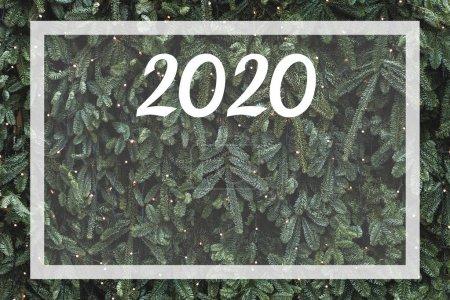 Photo pour Fond de pin de Noel. Place vide pour le plan de l'année 2020 et les objectifs futurs. Espace pour le signe et la conception. Vision de la nouvelle année. - image libre de droit