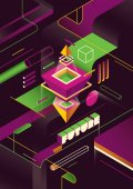 Vector illustration design of Geometric futuristic abstraction in color