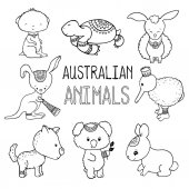 Cute australian animals outlined vector drawing Animals of Australia hand-drawn illustration