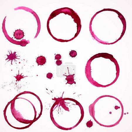 Illustration pour Jeu vectoriel de 7 taches rondes de vin aquarelle et gouttes / taches traces sur fond blanc - image libre de droit