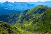 Amazing mountain gorge among the green alpine meadows