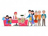 Vector cartoon people doing shopping supermarket