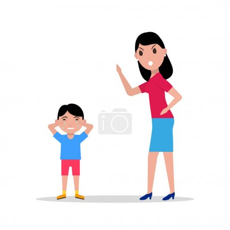 Vector cartoon angry mother scolding her child