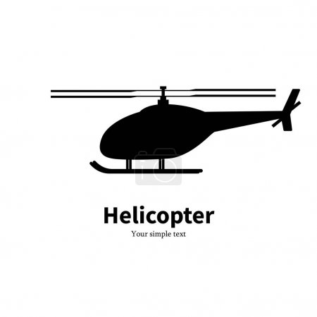Vector illustration black helicopter silhouette