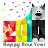 Happy New Year 2018 Year of dog Greeting Card design Vector eps 10
