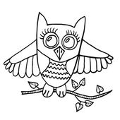 Cute owl sits on a branch with leaves Picture for adult coloring book page design child magazine banner template