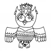 Cute owl in crone Picture for adult coloring book page design child magazine banner template