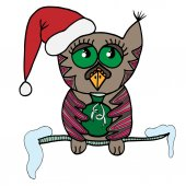 Colorful cute owl sits on a branch with snow and holds a sack in wings