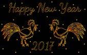Šťastný nový rok blahopřání s dvěma zlatý kohout