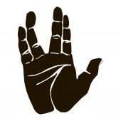 Black silhouette realistic salute vulcan hand gesture icon graphic