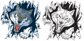 Angry Wolf Ripping out Background Vector Cartoon