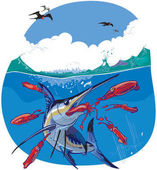 Vector cartoon clip art illustration of a blue marlin fish chasing and eating red squid under water while frigate birds fly in the sky above