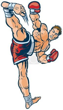 Kickboxer Executing High Side Kick