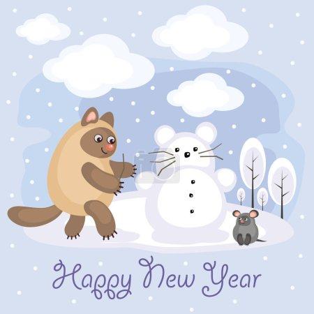 Illustration pour Carte de voeux du Nouvel An avec un chat et une souris amusants. Divertissements d'hiver. Amusant fond d'enfants dans le style de dessin animé . - image libre de droit