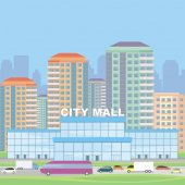 Abstract image of a modern city Cityscape with tall buildings skyscrapers and shopping center Vector background for design presentations web sites and banners