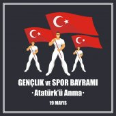 Translation from Turkish: May 19 Ataturk Memorial day holiday of youth and sport  A vector illustration by a public holiday of Turkey