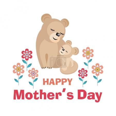 Illustration pour Bonne fête des mères. Carte de voeux avec l'image d'animaux mignons avec des oursons. Illustration vectorielle dans le style dessin animé . - image libre de droit