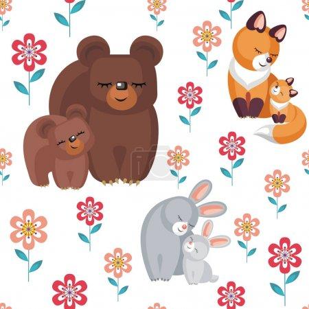 Illustration pour Motif sans couture de la fête des mères. Fond vectoriel pour enfants en style dessin animé avec l'image d'animaux mignons et leurs petits . - image libre de droit