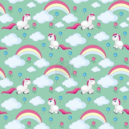 Illustration pour Enfants fées motif sans couture avec l'image de licornes mignonnes. Fond vectoriel coloré - image libre de droit