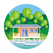 Beach house on stilts surrounded by tropical plants Round vector illustration