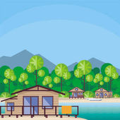 Beach cabanas are surrounded by tropical plants Beautiful sea landscape Vector background