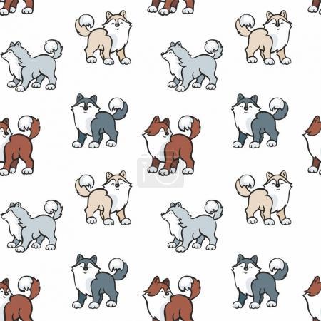 Illustration pour Modèle sans couture pour enfants en style dessin animé avec des chiens husky mignons. Fond vectoriel . - image libre de droit