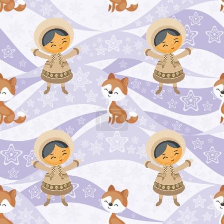Illustration pour Modèle sans couture avec l'image du peuple esquimau et des chiens husky. Fond vectoriel . - image libre de droit