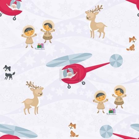 Illustration pour Modèle sans couture de Noël avec l'image du Père Noël, des Esquimaux, des rennes et des chiens husky. Fond vectoriel . - image libre de droit