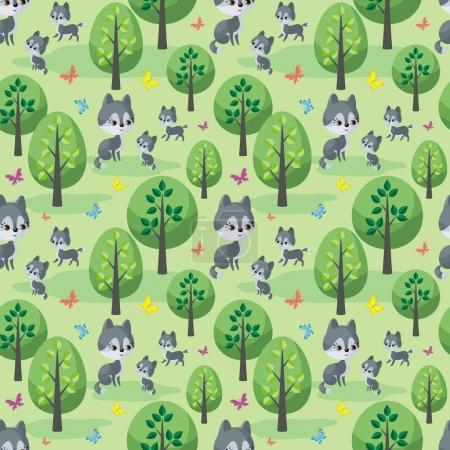 Illustration pour La famille Wolf. Modèle sans couture avec des animaux mignons et leurs petits. Fond vectoriel coloré dans le style de dessin animé . - image libre de droit