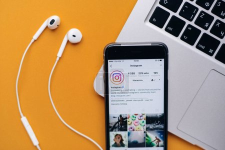 Photo for UKRAINE, KYIV - JULY 28, 2017: Apple iPhone with Instagram application on the screen. Instagram is a photo-sharing app for smartphones. - Royalty Free Image