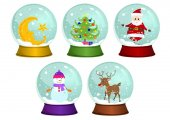 Vector illustrations of snow globes:- Moon snow globe- Christmas tree snow globe- Santa snow globe- Snowman snow globe- Reindeer snow globe