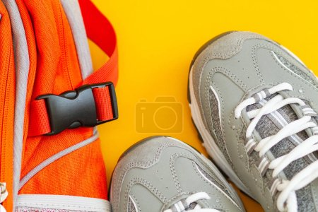 Photo for Grey sneakers on background, close us - Royalty Free Image