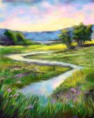 Digital painting of sunny spring landscape. On the river. Oil painting style.