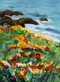 Original oil painting on canvas - Gold flowers near the sea