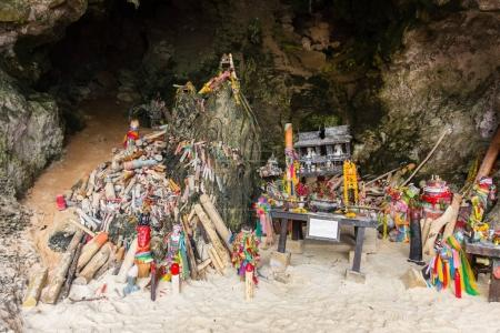 Wooden penis shrine in Princess cave (Phra Nang Shrine Temple) Krabi travel landmark  Thailand.