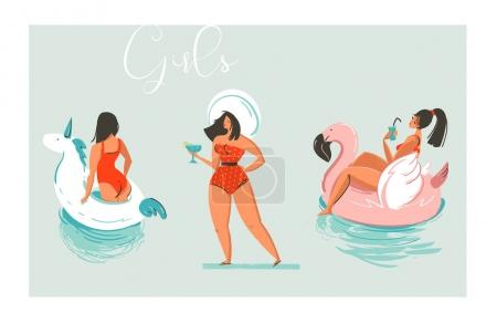 Hand drawn vector cartoon summer time fun beach girls collection illustration set with swimming pool float unicorn and flamingo rings and retro girl in hat with cocktail isolated on blue background.