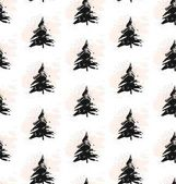 Vector hand-painted ink illustration with brush strokes New Year Christmas trees Abstract background