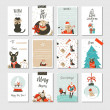 Hand drawn vector abstract fun Merry Christmas time cartoon cards collection set with cute illustrations,surprise gift boxes ,Xmas mammal dogs and modern calligraphy isolated on white background.