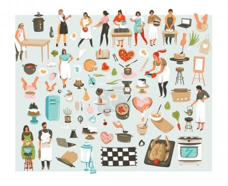 Hand drawn vector abstract cartoon cooking class illustrations icons collection set with cooking chef people characters mans,womans and cooking utensils and food isolated on white background.