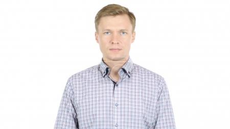 Serious Businessman, White Background
