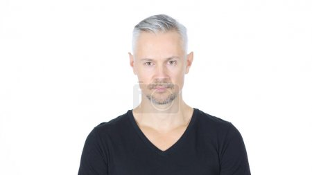 Portrait Of Middle Aged Man, White Background