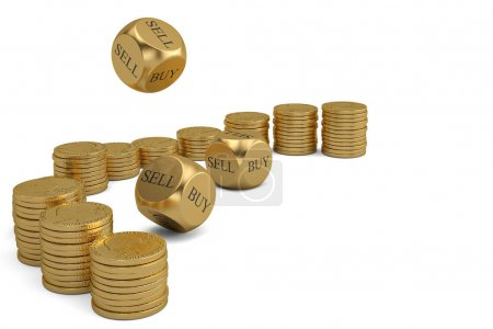 Buy or sell dices and gold coin stacks on white background.3D il