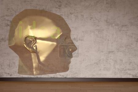 Head sculpture in room creative concept. 3D illustration.